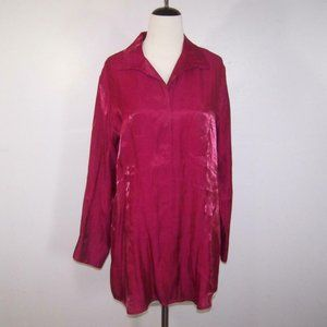 Chico's Shirt Top Blouse Sz 4 Pink Satin Button Up Long Sleeves Womens XXL 20